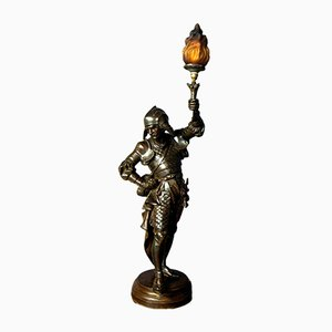 Antique Spelter Warrior Floor Lamp