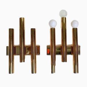 Italienische Mid-Century Messing Wandlampen, 1960er, 2er Set