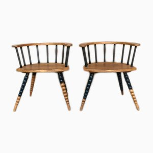 Vintage Oak Chairs, 1940s, Set of 2