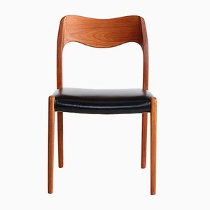 Danish Leather & Teak Dining Chairs by Niels Otto Møller for J.L. Møllers, 1950s, Set of 6