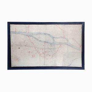 Mapa del centro de París francés pintado a mano, década de 1860