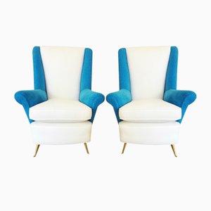 Italienische Sessel aus Messing & Velours von ISA Bergamo, 1950er, 2er Set