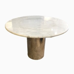 Industrial Italian Steel and Marble Dining Table by Luigi Caccia Dominioni, 1970s