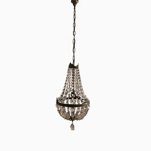 Art Deco Italian Crystal Basket Chandelier, 1930s