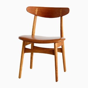 Danish Leather & Teak Dining Chairs by Hans J. Wegner for Carl Hansen & Søn, 1950s, Set of 5
