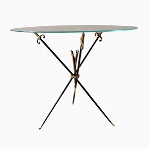 French Glass Top Coffee Table with Swords and Arrows, 1950s