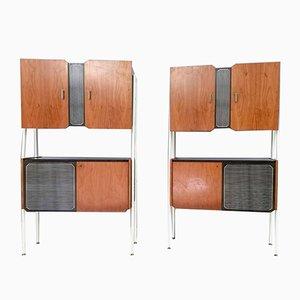 Muebles Mid-Century de nogal y madera lacada, años 50. Juego de 2