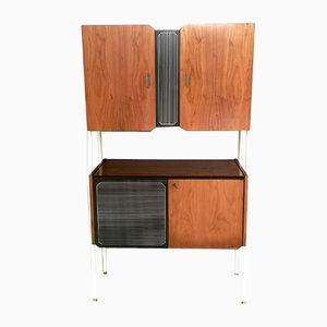 Mid-Century Walnut and Lacquered Wood Cabinets, 1950s, Set of 2