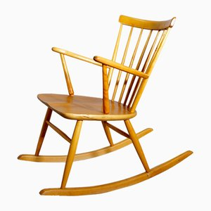 Beech and Teak Rocking Chair from Forshaga Möbelfabrik, 1950s