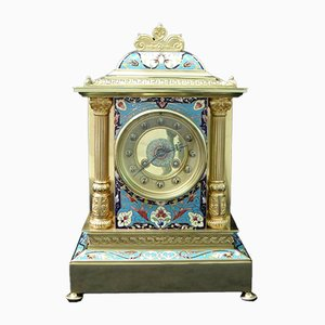 Antique French Brass and Champleve Mantel Clock from Samuel Marti