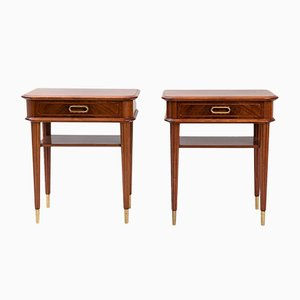 Mid-Century Brass and Mahogany Nightstands, Set of 2