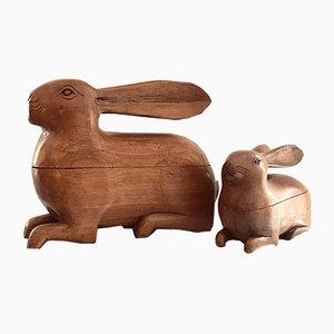 Cajas suecas Mid-Century en forma de conejo de madera de cerezo, años 40. Juego de 2