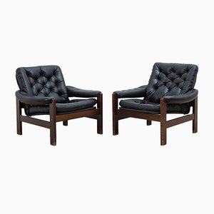 Scandinavian Leather and Wood Armchairs, 1970s, Set of 2