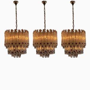 Italian Ceiling Lamps by Tony Zucherri for Venini, 1960s, Set of 3