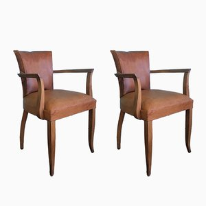 Art Deco French Leather Armchairs, 1930s, Set of 2