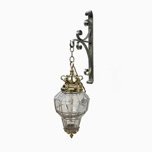 Vintage Brass, Glass, and Steel Lantern Wall Light, 1980s