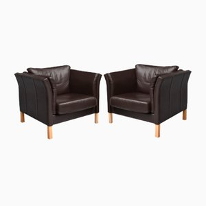 Vintage Danish Leather Armchairs, 1980s, Set of 2