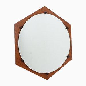 Espejo italiano Mid-Century hexagonal de teca de ISA Bergamo, años 50