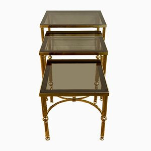 Brass and Cut Glass Nesting Tables, 1970s