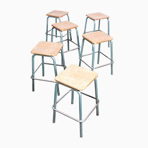 High Stacking Stools from Mullca, 1950s, Set of 6