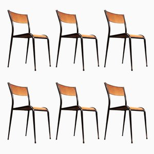 Stacking Dining Chairs with Tapered Legs from Mullca, 1950s, Set of 6