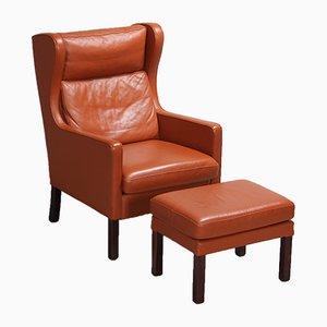 Vintage Danish Leather Armchair & Footrest Set, 1970s