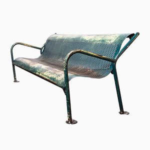 Mid-Century Perforated Steel Garden Bench, 1960s