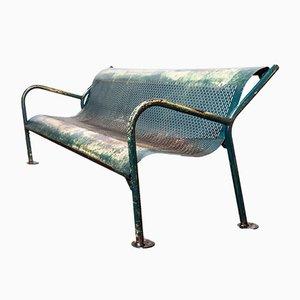 Mid-Century Perforated Steel Garden Bench, 1960s