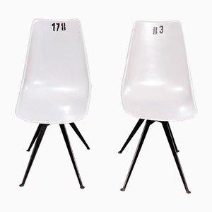 Graue Esszimmerstühle aus Glasfaser, 1960er, 2er Set