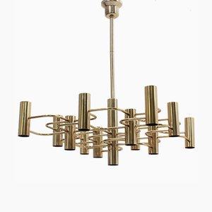 Lámpara de araña italiana de aluminio y latón de Gaetano Sciolari para Sciolari, años 70