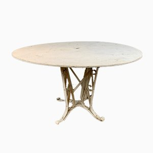 French Paint & Wrought Iron Garden Table, 1920s