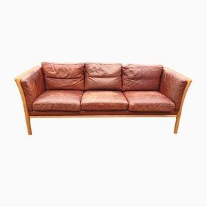 Vintage Danish Leather Sofa, 1970s