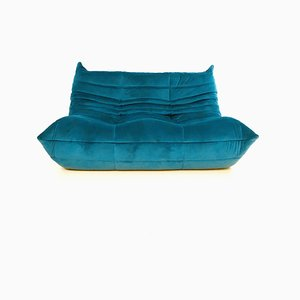 Canapé 2 Places Togo Vintage en Velours Bleu Sarcelle par Michel Ducaroy pour Ligne Roset, 1970s