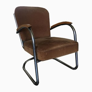 Fabric & Tubular Steel Industrial Model 436 Lounge Chair by Paul Schuitema for D3 Rotterdam, 1930s