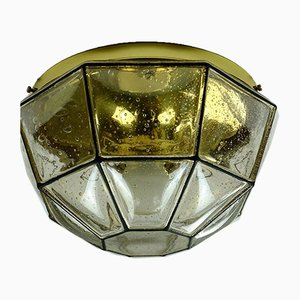 German Brass & Glass Ceiling Lamp from Limburg, 1970s