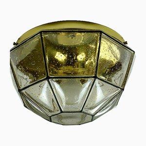 Lampada da soffitto in ottone e vetro di Limburg, Germania, anni '70
