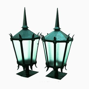 Large 19th-Century Iron Lanterns, 1890s, Set of 2