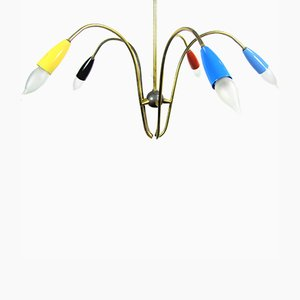 5 Arm Ceiling Lamp from Silnovo, 1950s