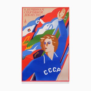 Olympic Athlete Communist Propaganda Poster by M. Getman, 1977