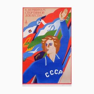 Poster propagandistico comunista con atleta olimpionico di M. Getman, 1977