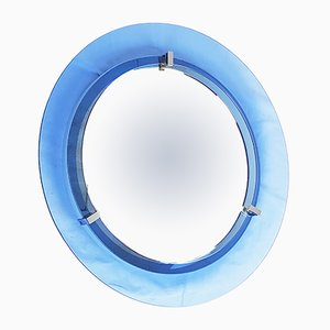 Round Blue Convex Glass & Chrome Mirror from Veca, 1960s