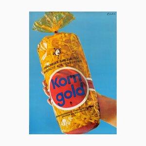 Póster publicitario suizo de pasta Korn Gold, años 60