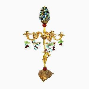 Lámpara de mesa italiana de bronce y cristal de Murano, años 60