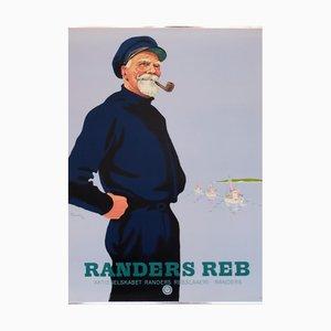 Danish Advertising Smoking Sailor Rander's Rope Poster, 1947