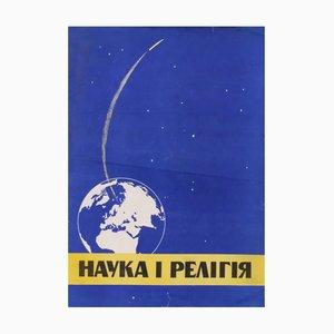 Póster de propaganda comunista de la ciencia y la religión, años 70