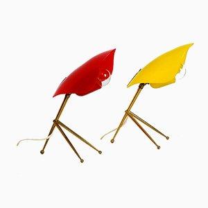 Lámparas de mesa de plexiglás rojo y amarillo de WKR Leuchten, años 50. Juego de 2