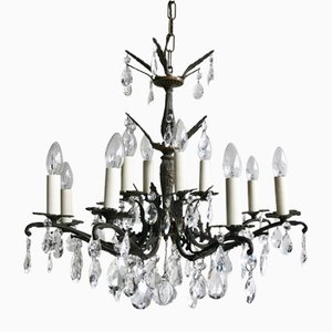 French Brass, Crystal & Glass Chandelier, 1920s