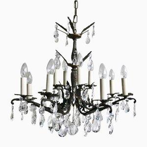 Lámpara de araña francesa de vidrio, latón y cristal, años 20