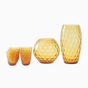 Amber Glass Vases & Glasses Set by Max Kannegiesser for Egermann, 1960s
