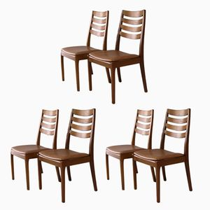 Teak and Vinyl Dining Chairs from Nathan, 1970s, Set of 6